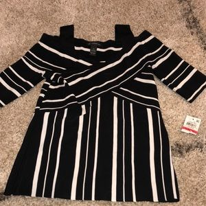 NWT INC Black and White Stripe Cold Shoulder XS